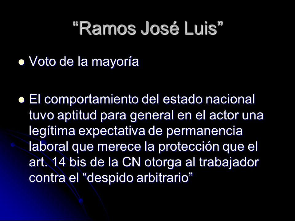 Ramos José Luis Voto de la mayoría Voto de la mayoría El comportamiento del estado nacional tuvo aptitud para general en el actor una legítima expecta