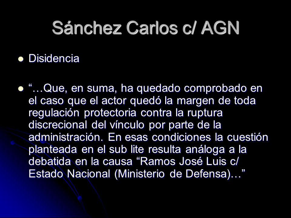 Sánchez Carlos c/ AGN Disidencia Disidencia …Que, en suma, ha quedado comprobado en el caso que el actor quedó la margen de toda regulación protectori