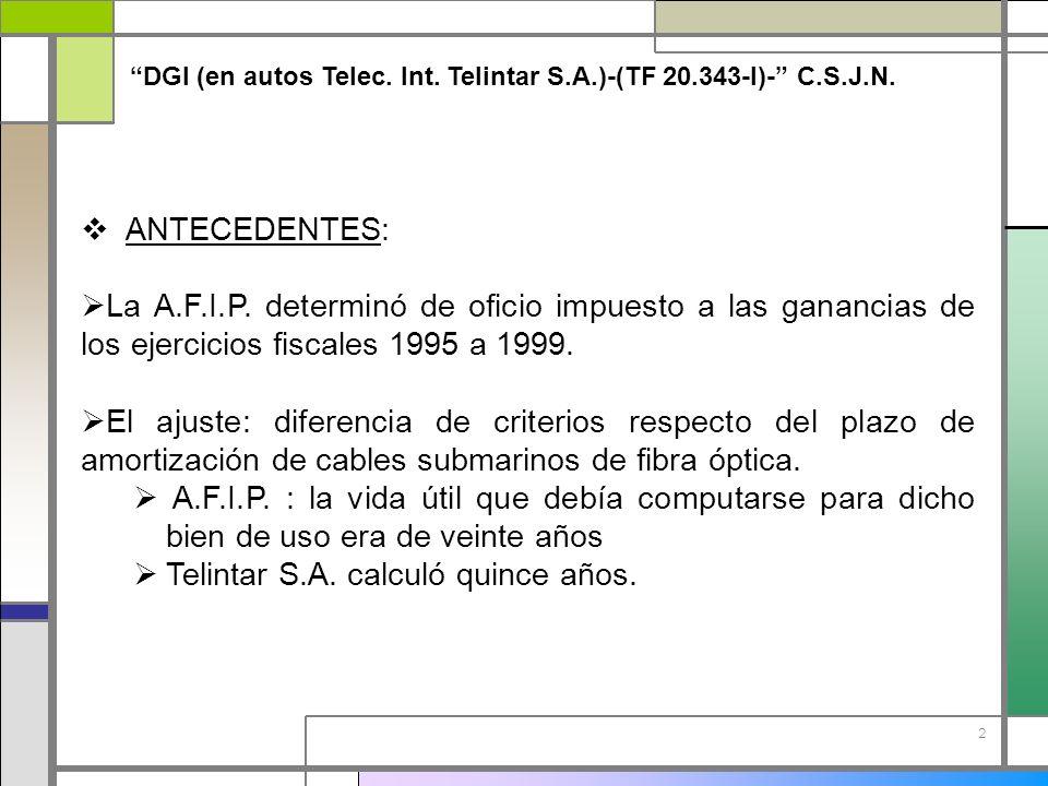 2 DGI (en autos Telec. Int. Telintar S.A.)-(TF 20.343-I)- C.S.J.N. ANTECEDENTES: La A.F.I.P. determinó de oficio impuesto a las ganancias de los ejerc