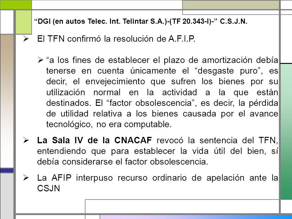 El TFN confirmó la resolución de A.F.I.P. a los fines de establecer el plazo de amortización debía tenerse en cuenta únicamente el desgaste puro, es d