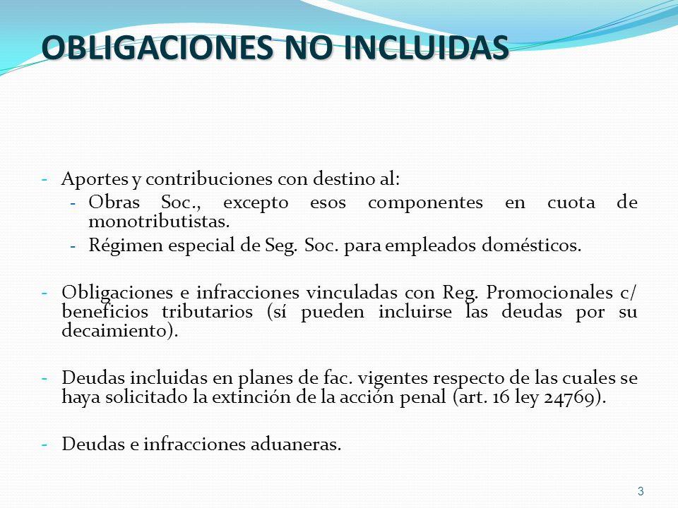 3 OBLIGACIONES NO INCLUIDAS - Aportes y contribuciones con destino al: - Obras Soc., excepto esos componentes en cuota de monotributistas. - Régimen e