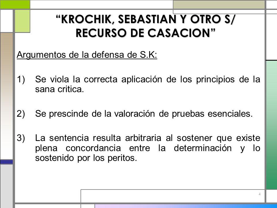 4 KROCHIK, SEBASTIAN Y OTRO S/ RECURSO DE CASACION Argumentos de la defensa de S.K: 1)Se viola la correcta aplicación de los principios de la sana cri