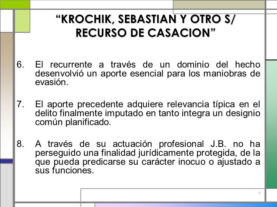 9 KROCHIK, SEBASTIAN Y OTRO S/ RECURSO DE CASACION 6.El recurrente a través de un dominio del hecho desenvolvió un aporte esencial para los maniobras