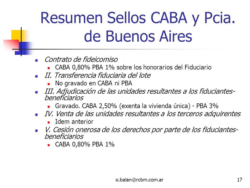 o.balan@rcbm.com.ar17 Resumen Sellos CABA y Pcia. de Buenos Aires Contrato de fideicomiso CABA 0,80% PBA 1% sobre los honorarios del Fiduciario II. Tr