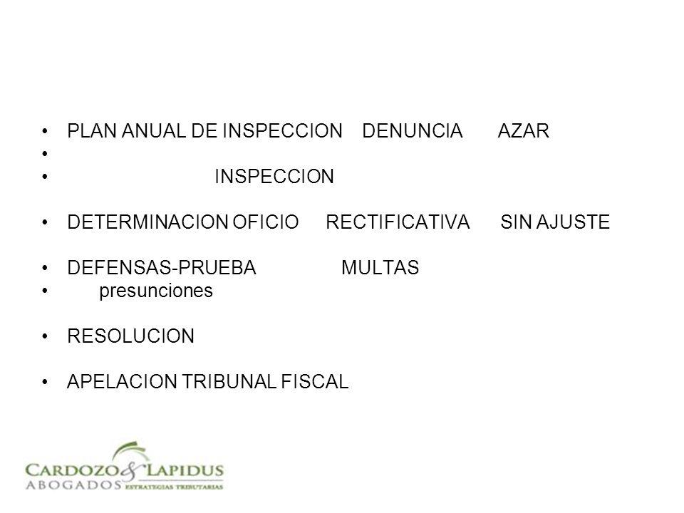 PLAN ANUAL DE INSPECCION DENUNCIA AZAR INSPECCION DETERMINACION OFICIO RECTIFICATIVA SIN AJUSTE DEFENSAS-PRUEBA MULTAS presunciones RESOLUCION APELACION TRIBUNAL FISCAL