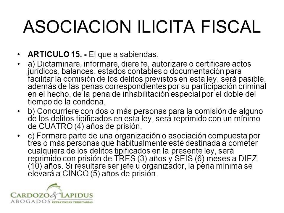 ASOCIACION ILICITA FISCAL ARTICULO 15. - El que a sabiendas: a) Dictaminare, informare, diere fe, autorizare o certificare actos jurídicos, balances,