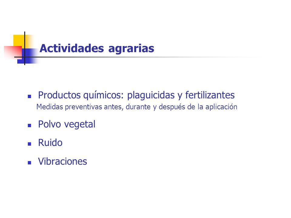Actividades agrarias Productos químicos: plaguicidas y fertilizantes Medidas preventivas antes, durante y después de la aplicación Polvo vegetal Ruido