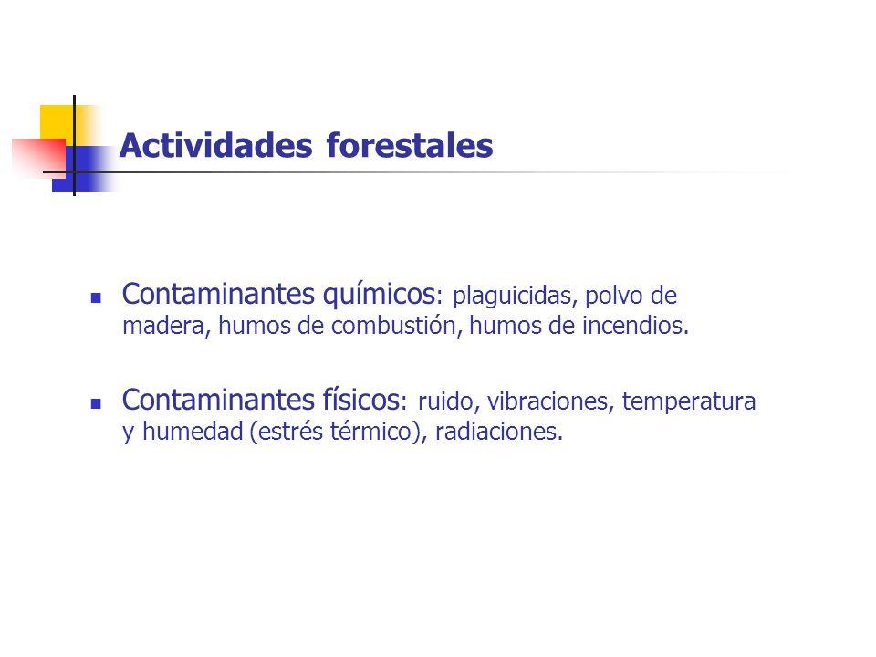 Actividades forestales Contaminantes químicos : plaguicidas, polvo de madera, humos de combustión, humos de incendios. Contaminantes físicos : ruido,