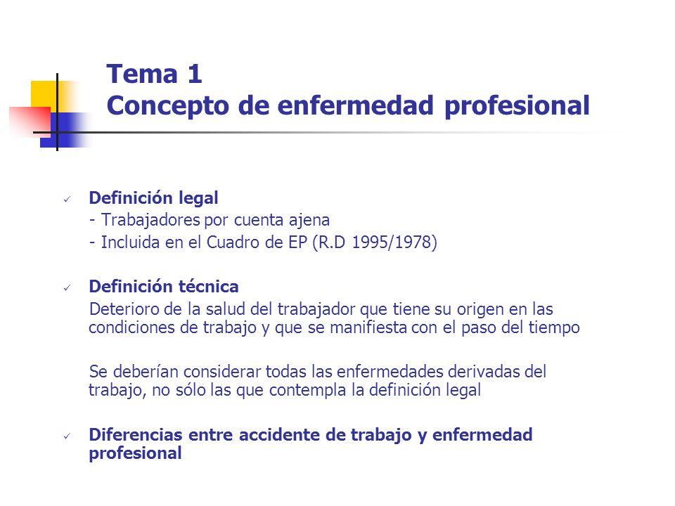 Tema 1 Concepto de enfermedad profesional Definición legal - Trabajadores por cuenta ajena - Incluida en el Cuadro de EP (R.D 1995/1978) Definición té