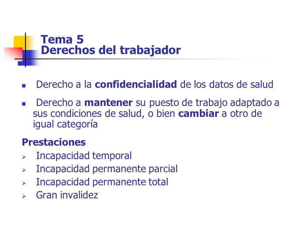 Tema 5 Derechos del trabajador Derecho a la confidencialidad de los datos de salud Derecho a mantener su puesto de trabajo adaptado a sus condiciones