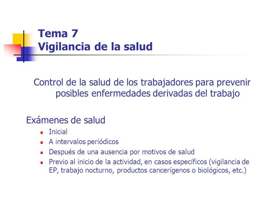 Tema 7 Vigilancia de la salud Control de la salud de los trabajadores para prevenir posibles enfermedades derivadas del trabajo Exámenes de salud Inic