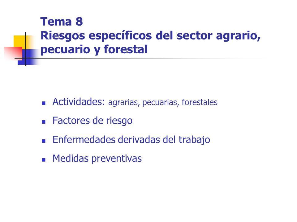 Tema 8 Riesgos específicos del sector agrario, pecuario y forestal Actividades: agrarias, pecuarias, forestales Factores de riesgo Enfermedades deriva