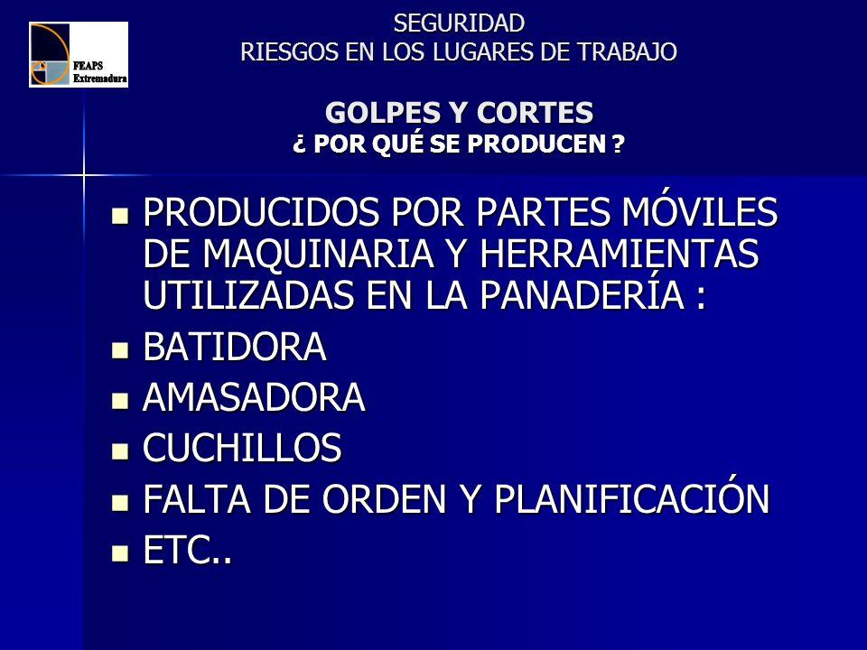 SEGURIDAD RIESGOS EN LOS LUGARES DE TRABAJO GOLPES Y CORTES ¿ POR QUÉ SE PRODUCEN ? PRODUCIDOS POR PARTES MÓVILES DE MAQUINARIA Y HERRAMIENTAS UTILIZA