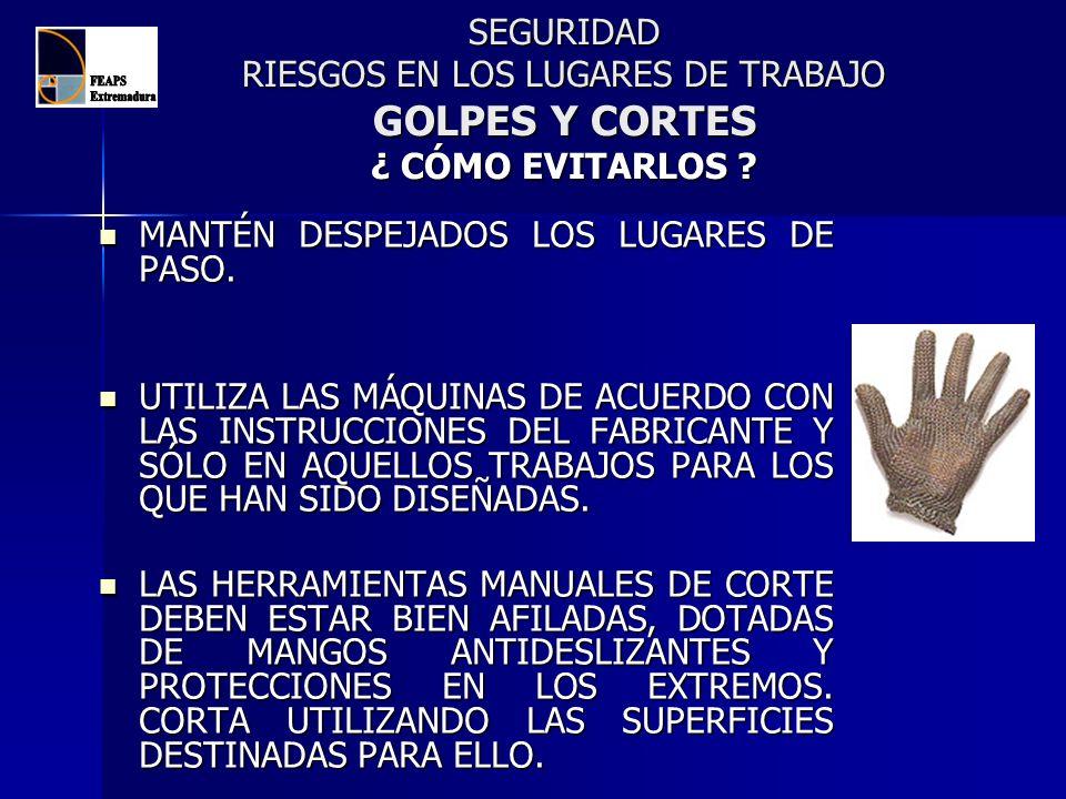 SEGURIDAD RIESGOS EN LOS LUGARES DE TRABAJO GOLPES Y CORTES ¿ CÓMO EVITARLOS ? MANTÉN DESPEJADOS LOS LUGARES DE PASO. MANTÉN DESPEJADOS LOS LUGARES DE