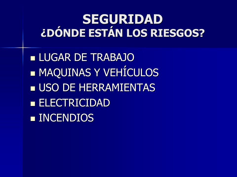 SEGURIDAD ¿DÓNDE ESTÁN LOS RIESGOS? LUGAR DE TRABAJO LUGAR DE TRABAJO MAQUINAS Y VEHÍCULOS MAQUINAS Y VEHÍCULOS USO DE HERRAMIENTAS USO DE HERRAMIENTA