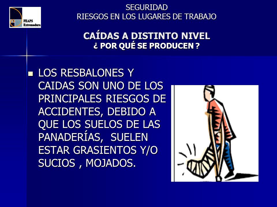SEGURIDAD RIESGOS EN LOS LUGARES DE TRABAJO CAÍDAS A DISTINTO NIVEL ¿ POR QUÉ SE PRODUCEN ? LOS RESBALONES Y CAIDAS SON UNO DE LOS PRINCIPALES RIESGOS