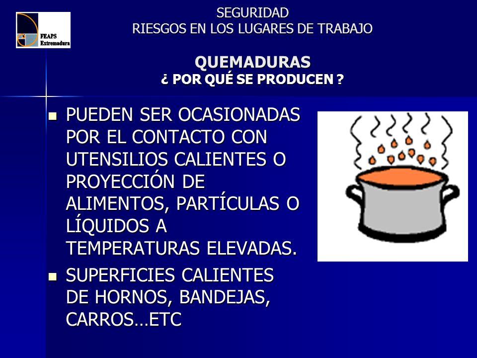 SEGURIDAD RIESGOS EN LOS LUGARES DE TRABAJO QUEMADURAS ¿ POR QUÉ SE PRODUCEN ? PUEDEN SER OCASIONADAS POR EL CONTACTO CON UTENSILIOS CALIENTES O PROYE
