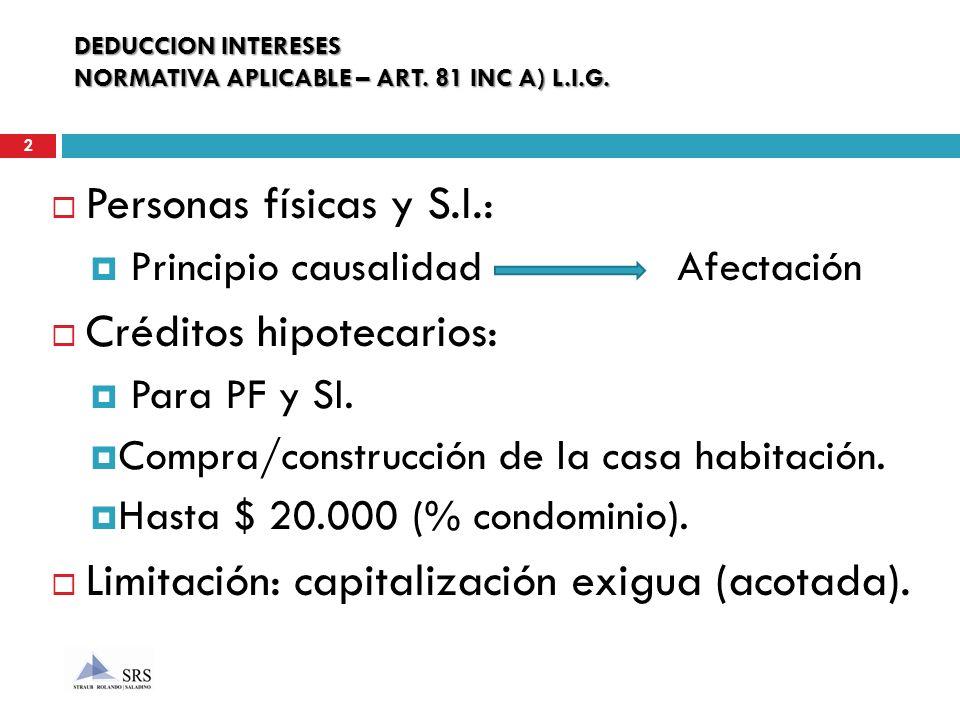 DEDUCCION INTERESES NORMATIVA APLICABLE – ART. 81 INC A) L.I.G. Personas físicas y S.I.: Principio causalidad Afectación Créditos hipotecarios: Para P