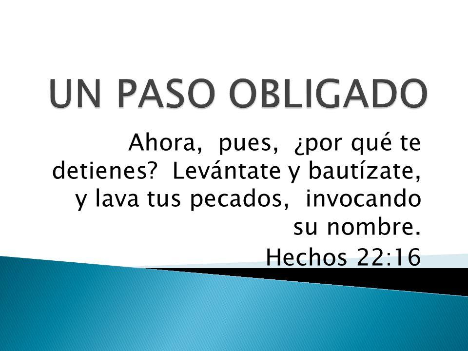 Ahora, pues, ¿por qué te detienes? Levántate y bautízate, y lava tus pecados, invocando su nombre. Hechos 22:16