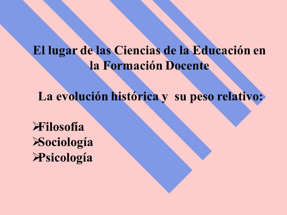El lugar de las Ciencias de la Educación en la Formación Docente La evolución histórica y su peso relativo: Filosofía Sociología Psicología