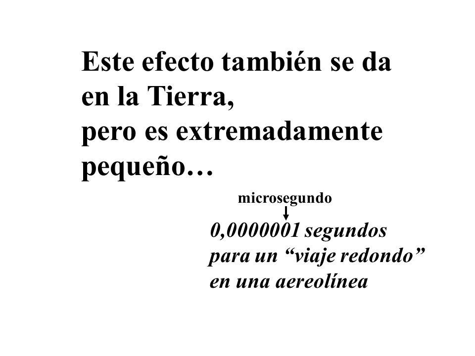 Este efecto también se da en la Tierra, pero es extremadamente pequeño… 0,0000001 segundos para un viaje redondo en una aereolínea microsegundo
