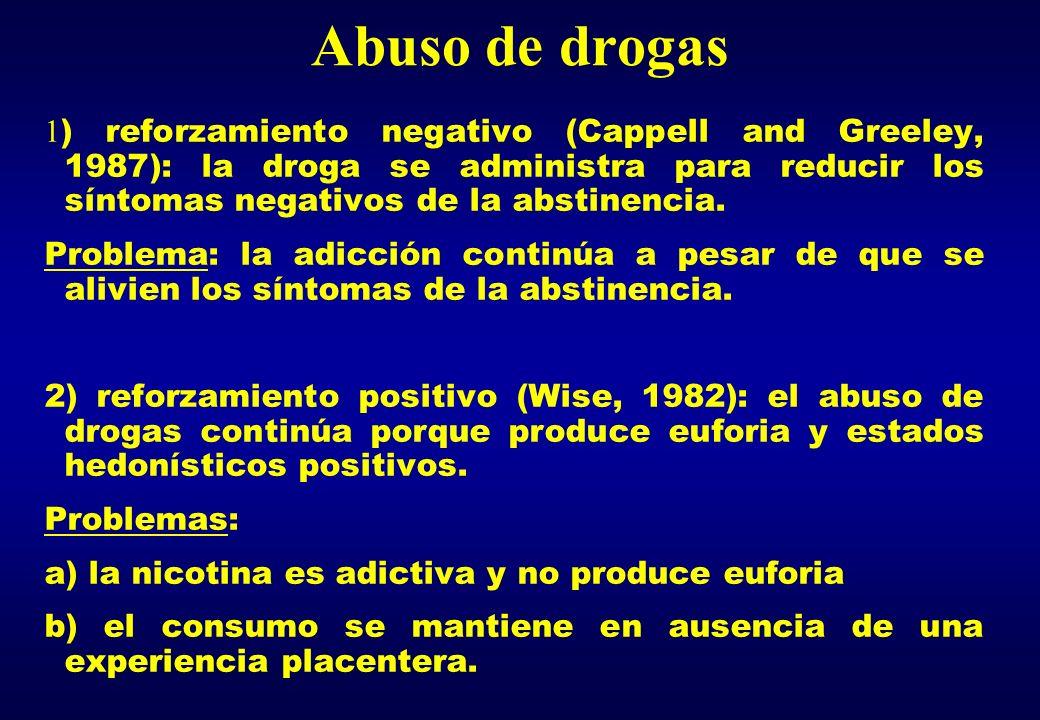 Abuso de drogas 1 ) reforzamiento negativo (Cappell and Greeley, 1987): la droga se administra para reducir los síntomas negativos de la abstinencia.