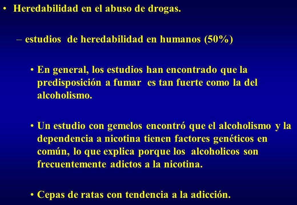 Heredabilidad en el abuso de drogas. –estudios de heredabilidad en humanos (50%) En general, los estudios han encontrado que la predisposición a fumar