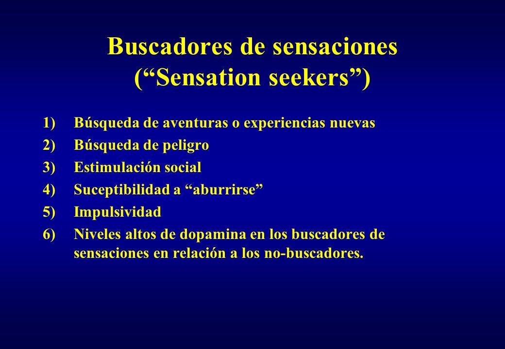 Buscadores de sensaciones (Sensation seekers) 1)Búsqueda de aventuras o experiencias nuevas 2)Búsqueda de peligro 3)Estimulación social 4)Suceptibilid