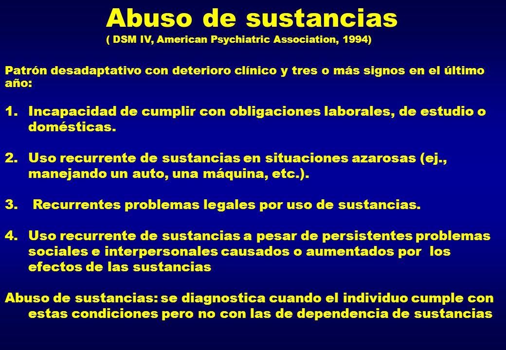 Abuso de sustancias ( DSM IV, American Psychiatric Association, 1994) Patrón desadaptativo con deterioro clínico y tres o más signos en el último año: