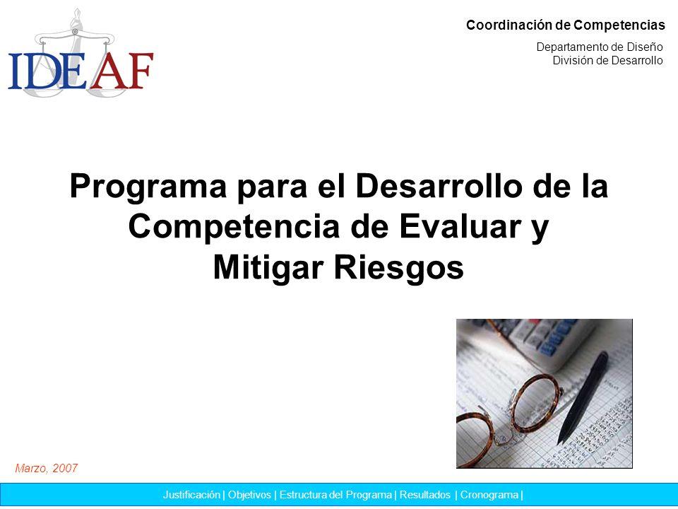 Programa para el Desarrollo de la Competencia de Evaluar y Mitigar Riesgos Coordinación de Competencias Justificación | Objetivos | Estructura del Pro