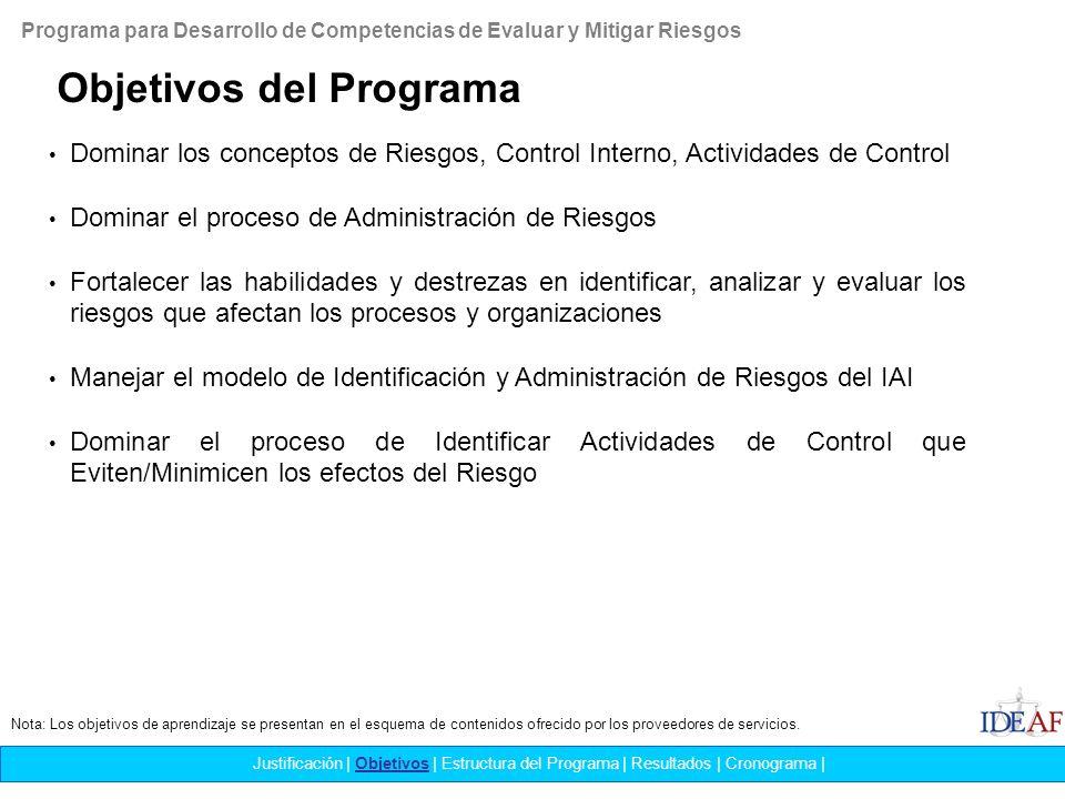El Analista de Riesgo logrará … Justificación   Objetivos   Estructura del Programa   Resultados   Cronograma   Rediseñar procesos y actividades con base a sus análisis coadyuvando al logro de los objetivos trazados.