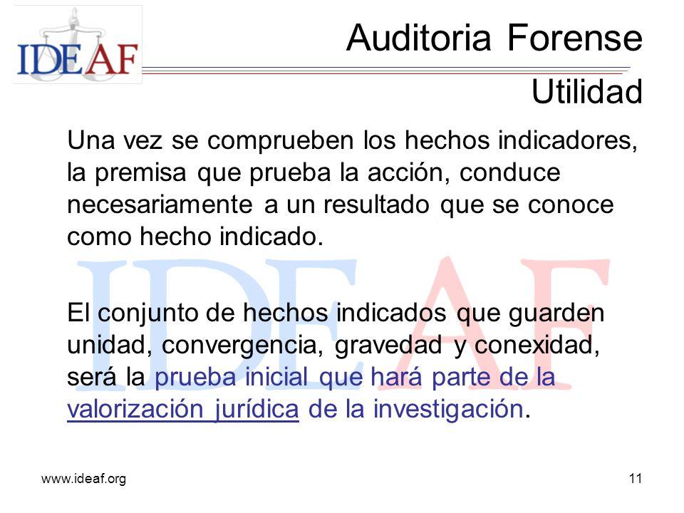 www.ideaf.org11 Una vez se comprueben los hechos indicadores, la premisa que prueba la acción, conduce necesariamente a un resultado que se conoce com