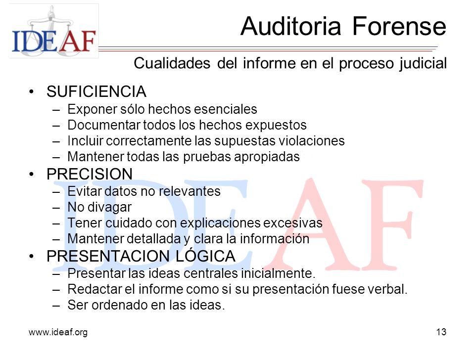 www.ideaf.org13 SUFICIENCIA –Exponer sólo hechos esenciales –Documentar todos los hechos expuestos –Incluir correctamente las supuestas violaciones –M