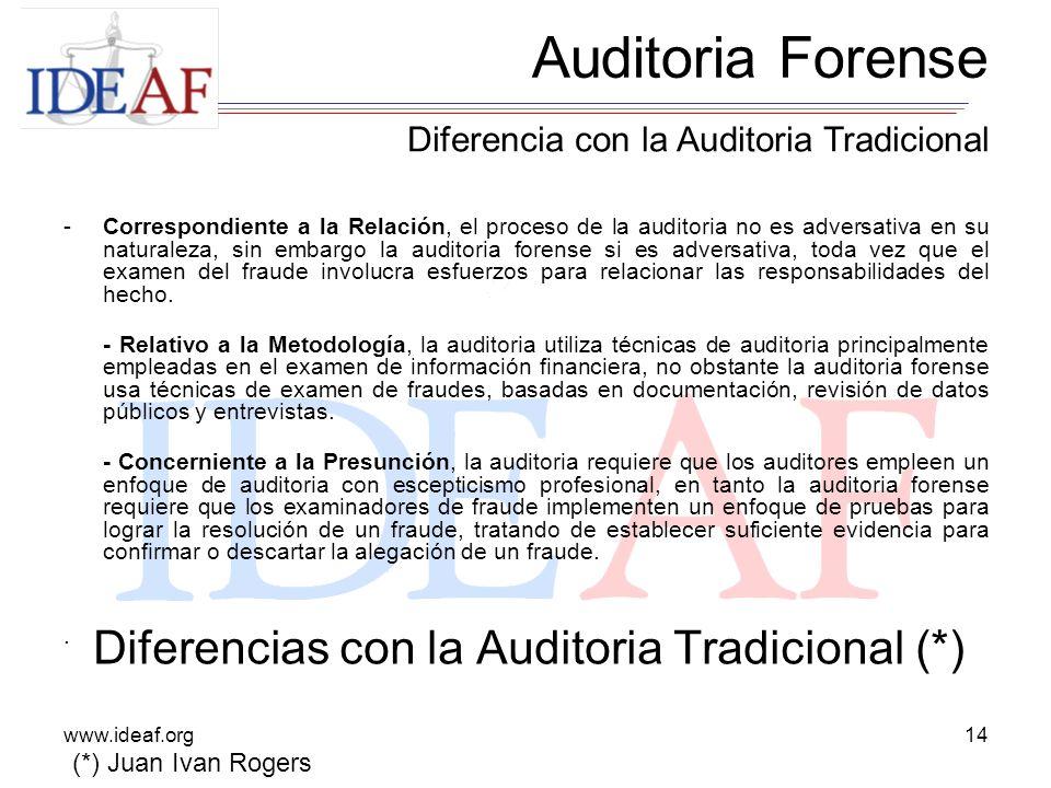 www.ideaf.org14 -Correspondiente a la Relación, el proceso de la auditoria no es adversativa en su naturaleza, sin embargo la auditoria forense si es