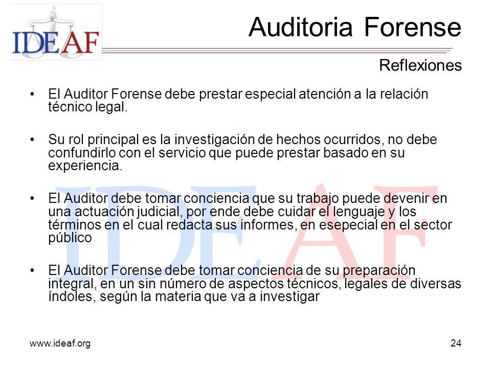 www.ideaf.org24 El Auditor Forense debe prestar especial atención a la relación técnico legal. Su rol principal es la investigación de hechos ocurrido