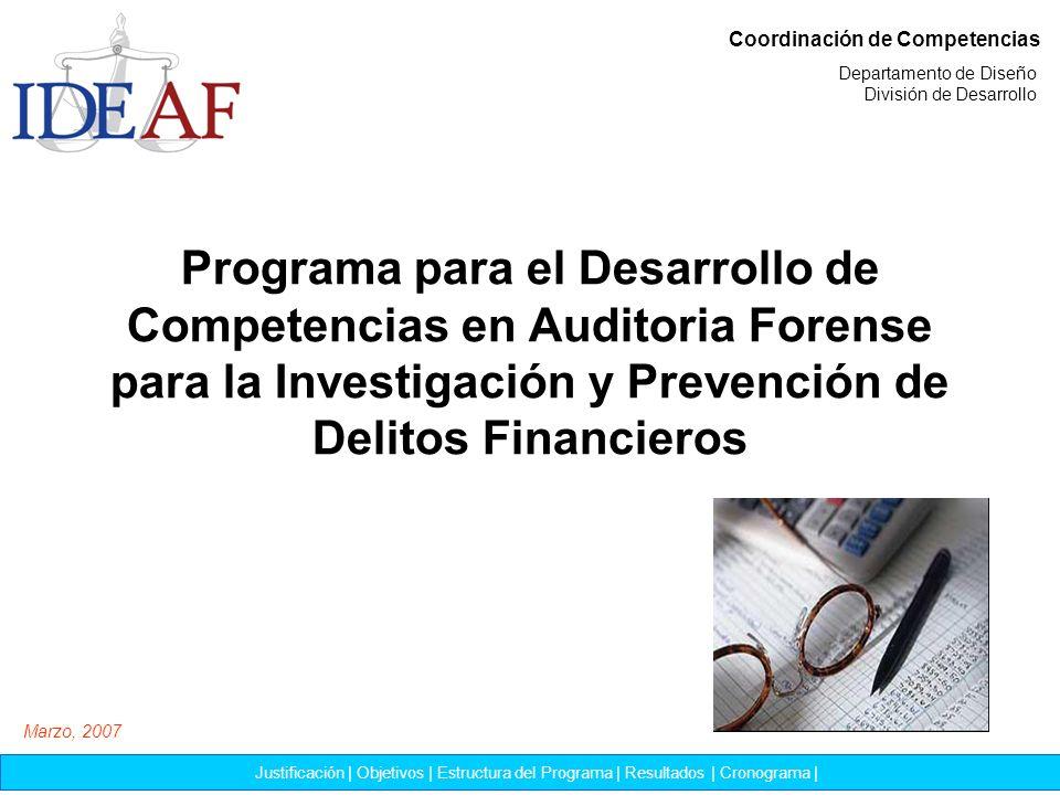 Programa para el Desarrollo de Competencias en Auditoria Forense para la Investigación y Prevención de Delitos Financieros Coordinación de Competencia
