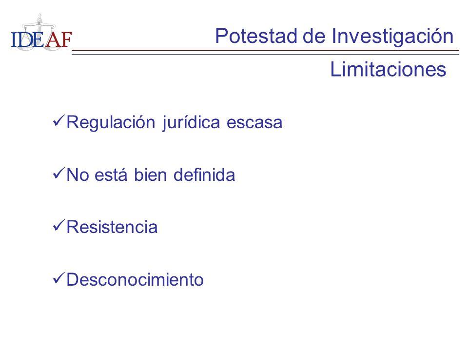 Regulación jurídica escasa No está bien definida Resistencia Desconocimiento Limitaciones Potestad de Investigación