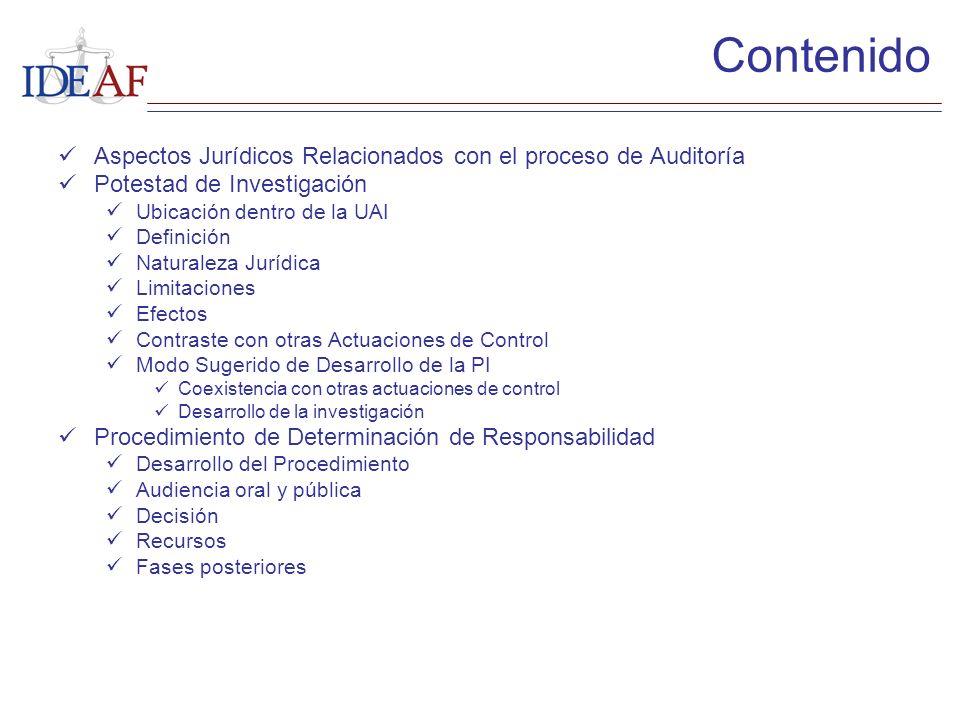 Aspectos Jurídicos Relacionados con el proceso de Auditoría Potestad de Investigación Ubicación dentro de la UAI Definición Naturaleza Jurídica Limita