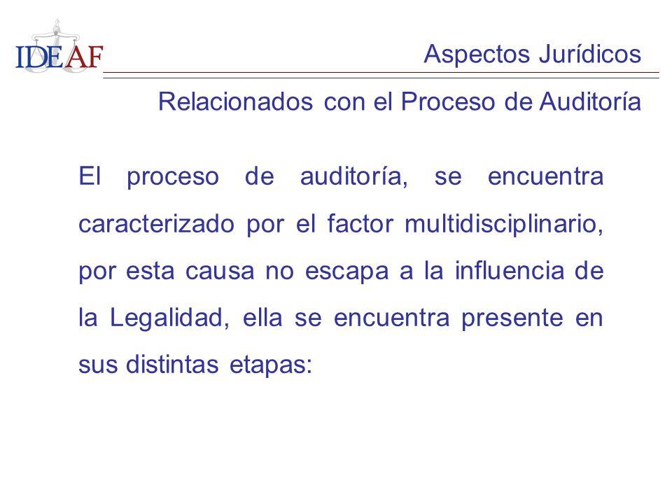 Aspectos Jurídicos Relacionados con el Proceso de Auditoría El proceso de auditoría, se encuentra caracterizado por el factor multidisciplinario, por