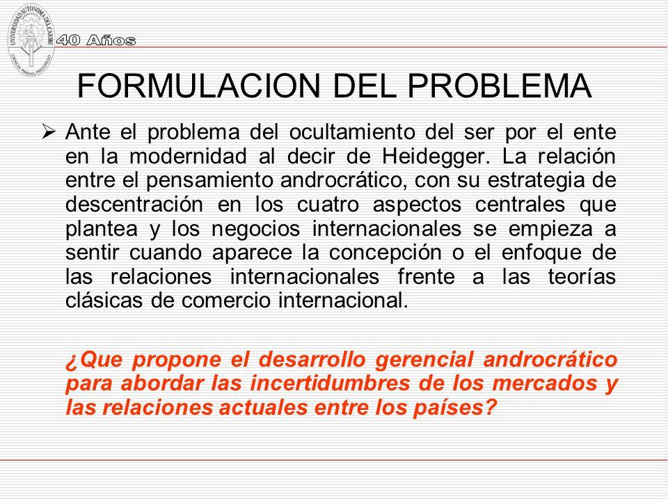 FORMULACION DEL PROBLEMA Ante el problema del ocultamiento del ser por el ente en la modernidad al decir de Heidegger.