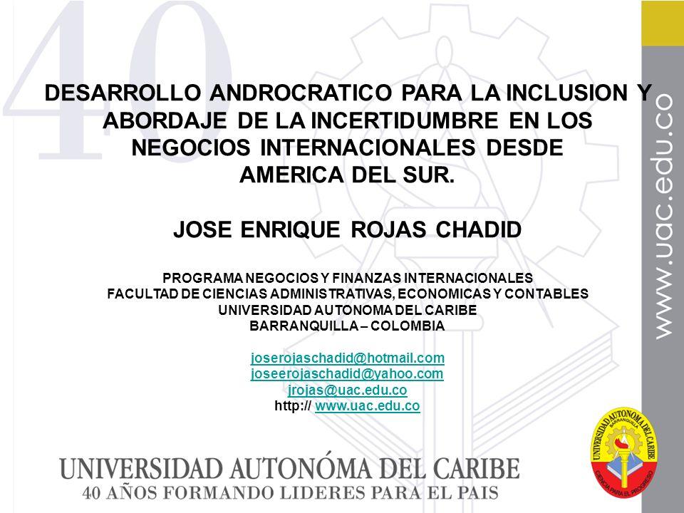 DESARROLLO ANDROCRATICO PARA LA INCLUSION Y ABORDAJE DE LA INCERTIDUMBRE EN LOS NEGOCIOS INTERNACIONALES DESDE AMERICA DEL SUR.