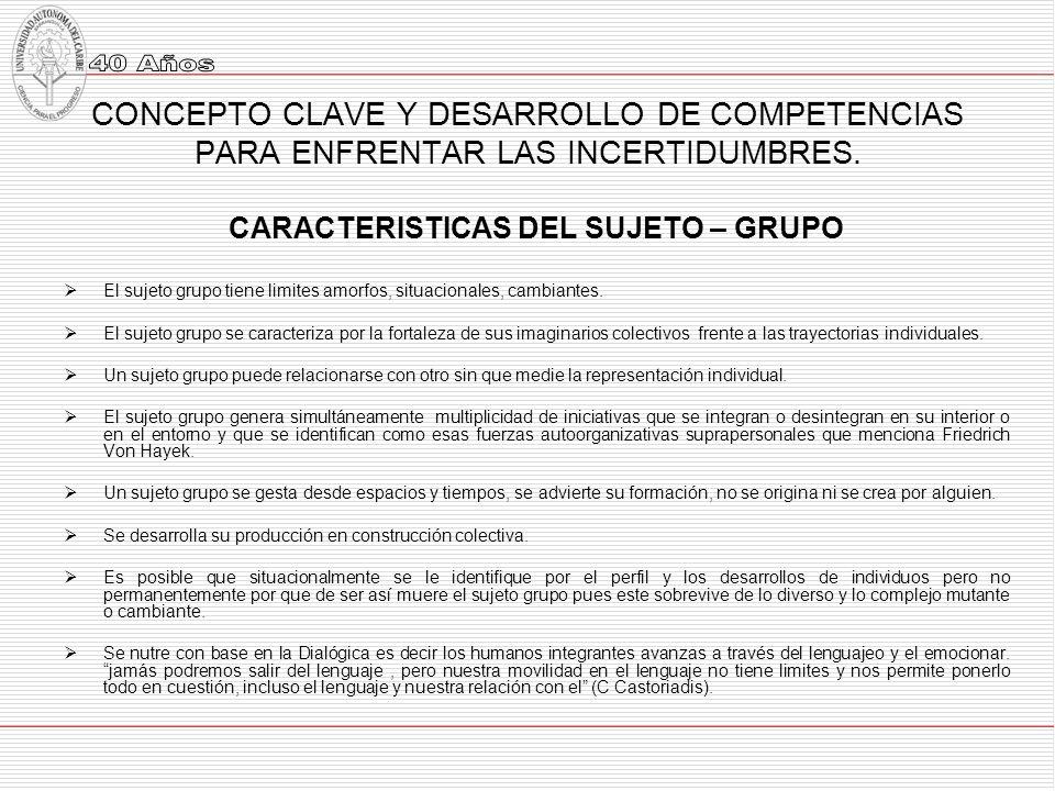 CONCEPTO CLAVE Y DESARROLLO DE COMPETENCIAS PARA ENFRENTAR LAS INCERTIDUMBRES.