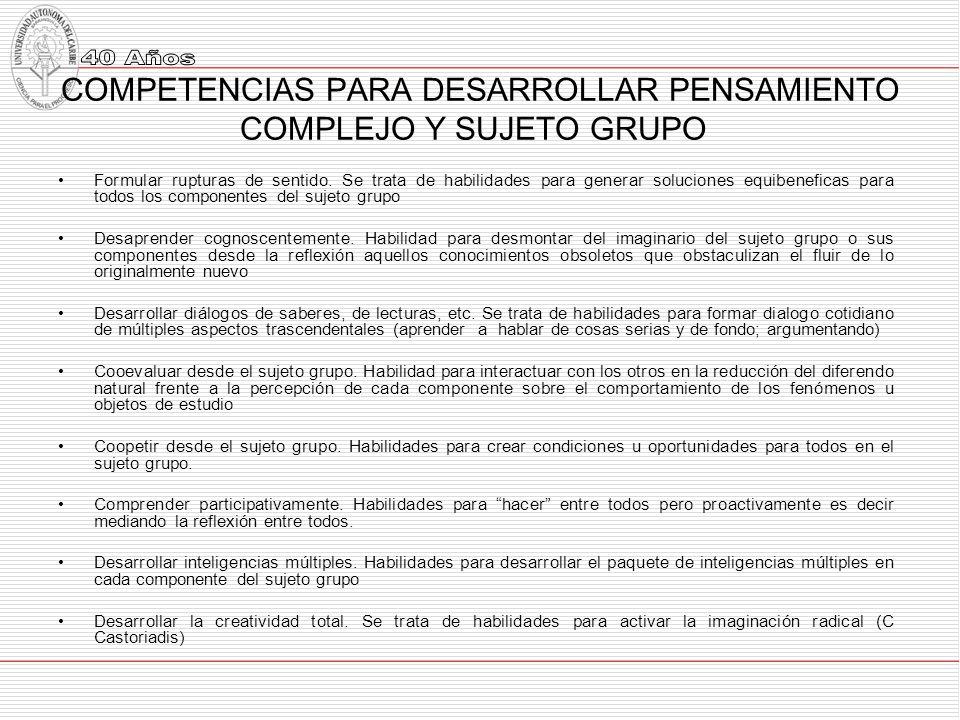 COMPETENCIAS PARA DESARROLLAR PENSAMIENTO COMPLEJO Y SUJETO GRUPO Formular rupturas de sentido.
