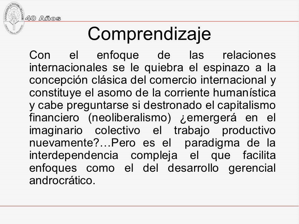 Comprendizaje Con el enfoque de las relaciones internacionales se le quiebra el espinazo a la concepción clásica del comercio internacional y constituye el asomo de la corriente humanística y cabe preguntarse si destronado el capitalismo financiero (neoliberalismo) ¿emergerá en el imaginario colectivo el trabajo productivo nuevamente …Pero es el paradigma de la interdependencia compleja el que facilita enfoques como el del desarrollo gerencial androcrático.