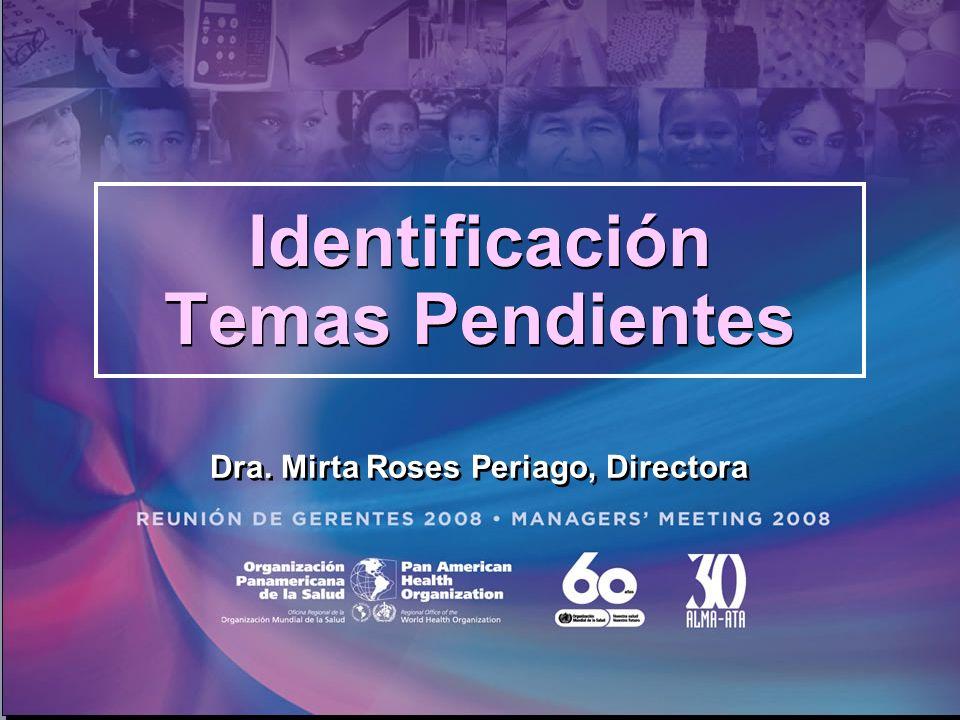 Identificación Temas Pendientes Dra. Mirta Roses Periago, Directora