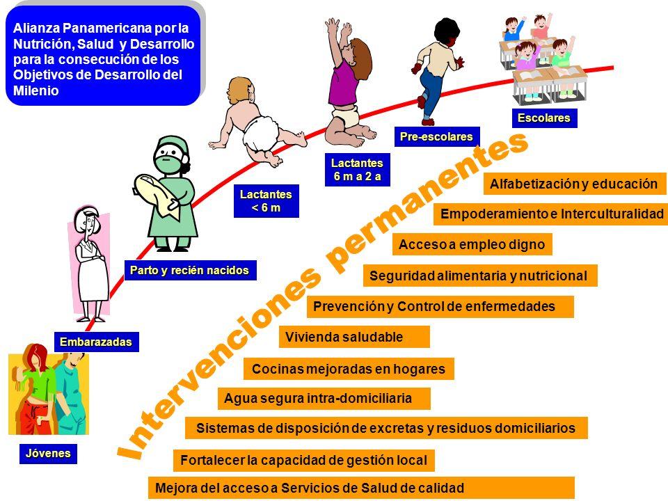 Jóvenes Embarazadas Lactantes 6 m a 2 a Pre-escolares Escolares Lactantes < 6 m Parto y recién nacidos Alfabetización y educación Sistemas de disposic