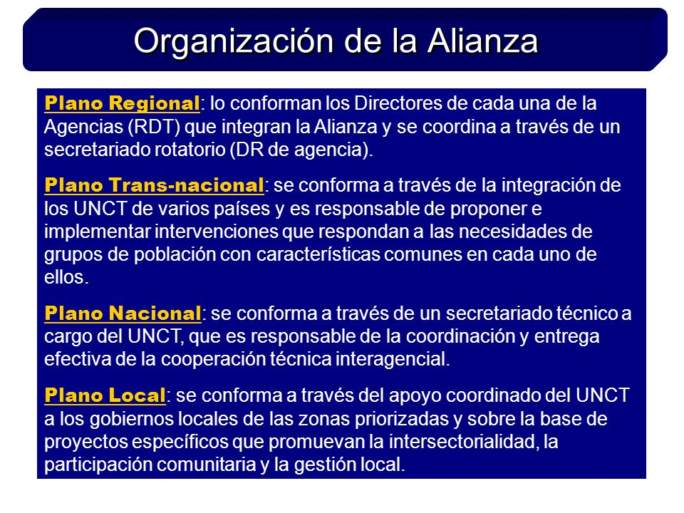 Plano Regional : lo conforman los Directores de cada una de la Agencias (RDT) que integran la Alianza y se coordina a través de un secretariado rotatorio (DR de agencia).