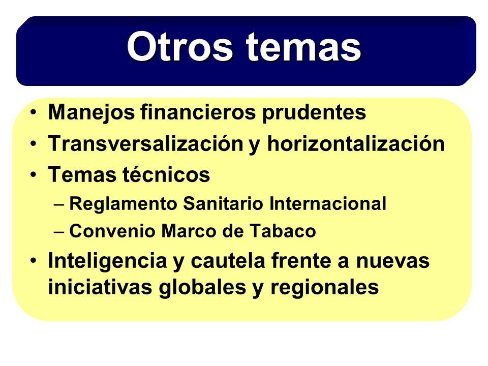 Manejos financieros prudentes Transversalización y horizontalización Temas técnicos –Reglamento Sanitario Internacional –Convenio Marco de Tabaco Inteligencia y cautela frente a nuevas iniciativas globales y regionales Otros temas