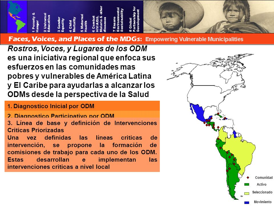 Rostros, Voces, y Lugares de los ODM es una iniciativa regional que enfoca sus esfuerzos en las comunidades mas pobres y vulnerables de América Latina y El Caribe para ayudarlas a alcanzar los ODMs desde la perspectiva de la Salud 1.