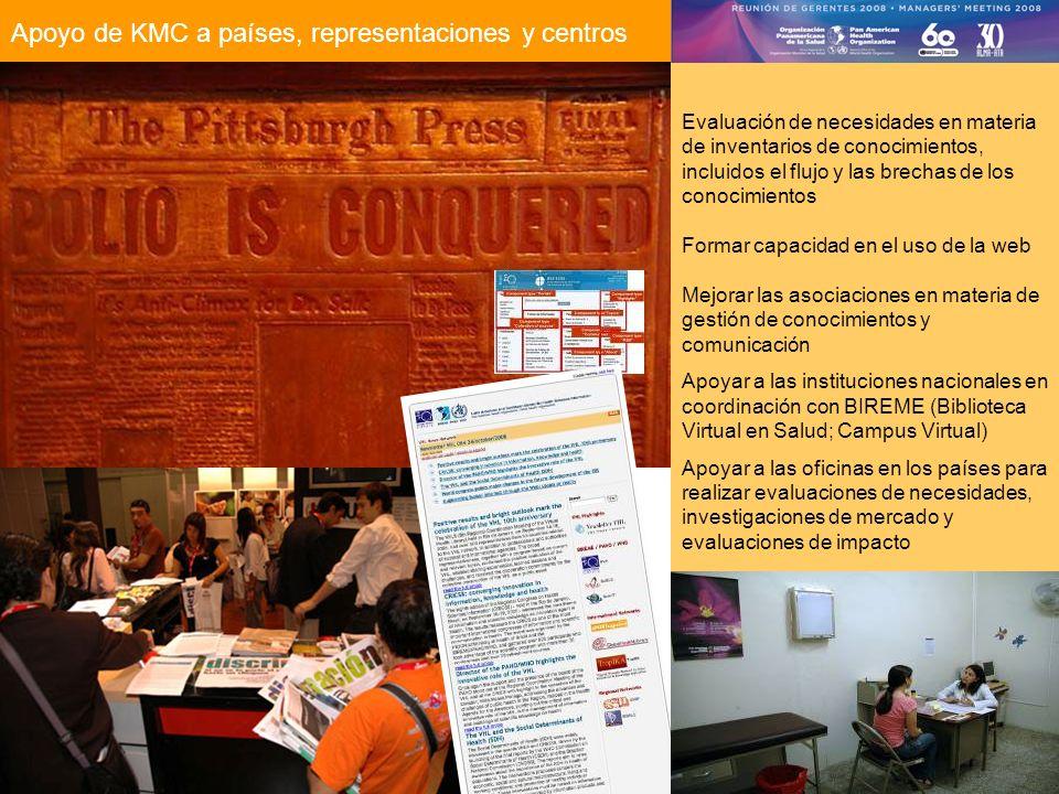 Apoyo de KMC a países, representaciones y centros Evaluación de necesidades en materia de inventarios de conocimientos, incluidos el flujo y las brechas de los conocimientos Formar capacidad en el uso de la web Mejorar las asociaciones en materia de gestión de conocimientos y comunicación Apoyar a las instituciones nacionales en coordinación con BIREME (Biblioteca Virtual en Salud; Campus Virtual) Apoyar a las oficinas en los países para realizar evaluaciones de necesidades, investigaciones de mercado y evaluaciones de impacto